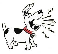 chien en train d'aboyer cartoon